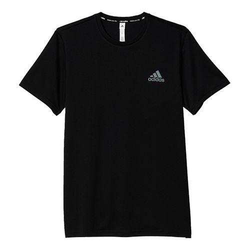 Mens Adidas Essential Tech Tee Short Sleeve Technical Tops - Black/Vista Grey L