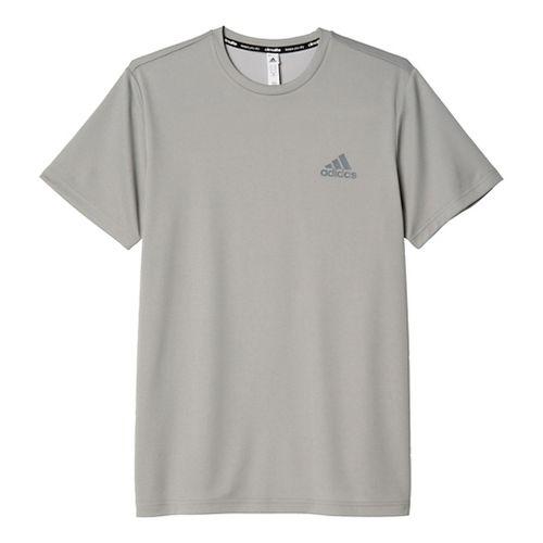Mens Adidas Essential SS Tech Tee Short Sleeve Technical Tops - Medium Grey Heather L ...