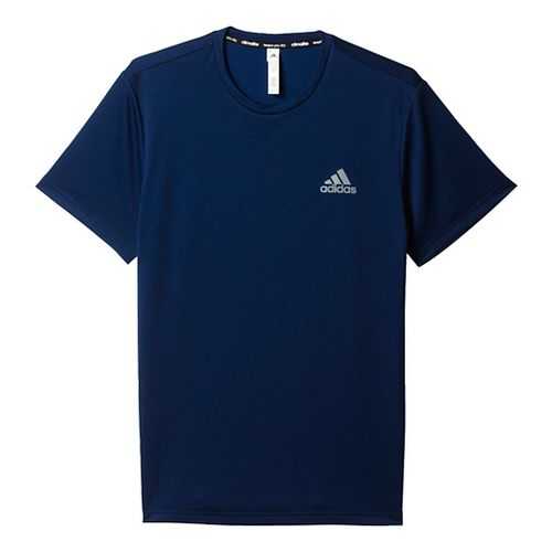 Mens Adidas Essential SS Tech Tee Short Sleeve Technical Tops - Black/Grey L