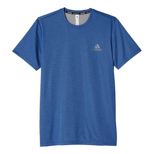 Mens Adidas Essential Tech Tee Short Sleeve Technical Tops - Royal/Heather Grey M