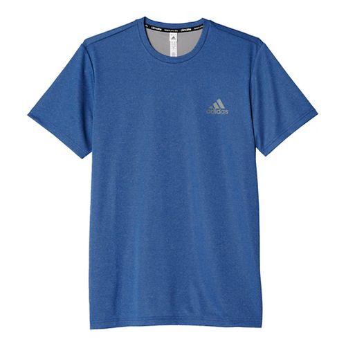 Mens Adidas Essential Tech Tee Short Sleeve Technical Tops - Royal/Heather Grey XL