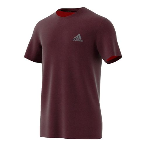 Mens Adidas Essential Tech Tee Short Sleeve Technical Tops - Maroon/Red S