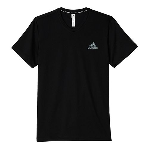 Mens Adidas Essential V-Neck Tech Tee Short Sleeve Technical Tops - Black/Grey M