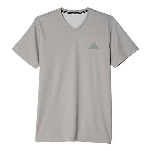 Mens Adidas Essential SS V-Neck Tech Tee Short Sleeve Technical Tops - Black/Grey L