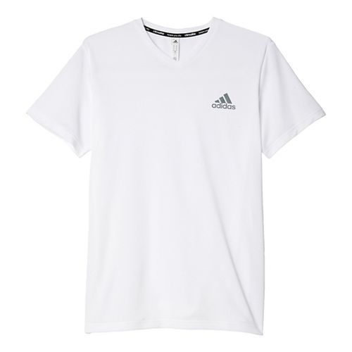 Mens Adidas Essential V-Neck Tech Tee Short Sleeve Technical Tops - White/Grey L