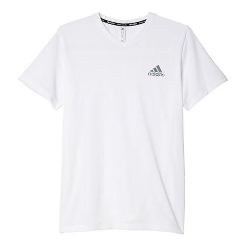 Mens Adidas Essential SS V-Neck Tech Tee Short Sleeve Technical Tops - White/Grey XXL