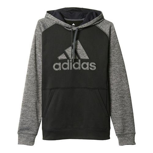 Mens Adidas Team Issue Fleece Pullover Half-Zips & Hoodies Technical Tops - Black/Dark Grey M ...