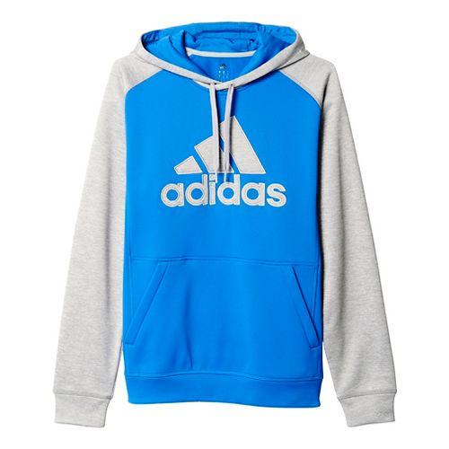 Mens Adidas Team Issue Fleece Pullover Half-Zips & Hoodies Technical Tops - Blue/Light Grey L ...