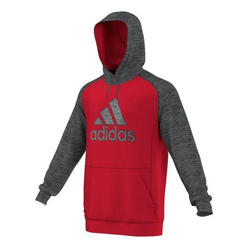 Mens Adidas Team Issue Fleece Pullover Half-Zips & Hoodies Technical Tops - Scarlet/Dark Grey ...