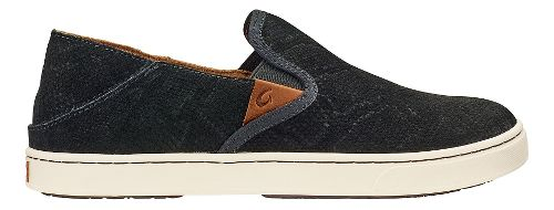 Womens Olukai Pehuea Leather Casual Shoe - Black Honu/Black 7