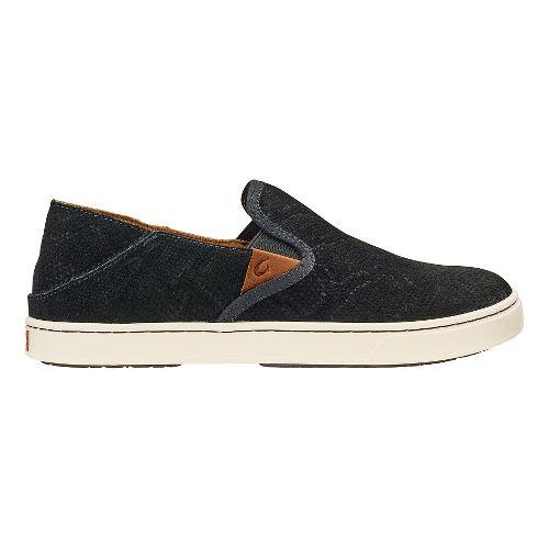Womens Olukai Pehuea Leather Sandals Shoe - Black Honu/Black 11