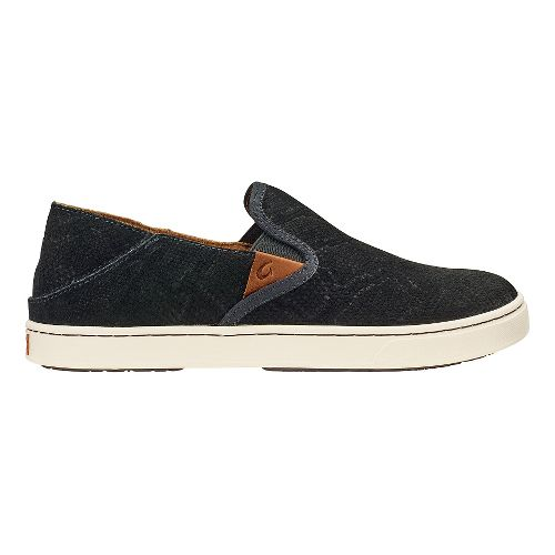 Womens Olukai Pehuea Leather Sandals Shoe - Black Honu/Black 8