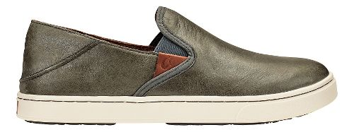 Womens Olukai Pehuea Leather Casual Shoe - Pewter/Charcoal 6
