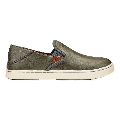 Womens Olukai Pehuea Leather Sandals Shoe - Pewter/Charcoal 9