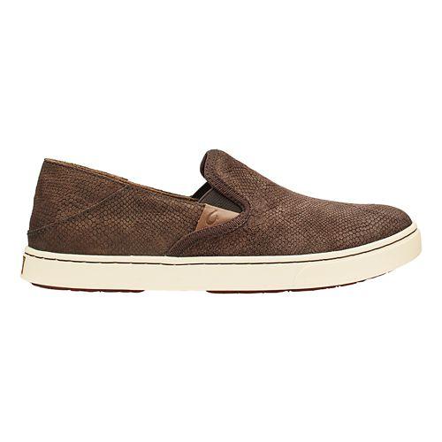 Womens Olukai Pehuea Leather Casual Shoe - Dark Java Honu/Java 10