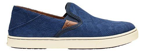 Womens Olukai Pehuea Leather Casual Shoe - Trench Blue Honu 6