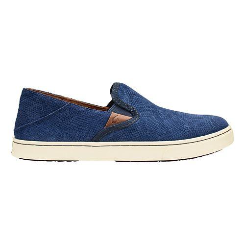 Womens Olukai Pehuea Leather Casual Shoe - Trench Blue Honu 10