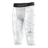 Mens Adidas Techfit 3/4 Printed Base-Layer Tights & Leggings Pants