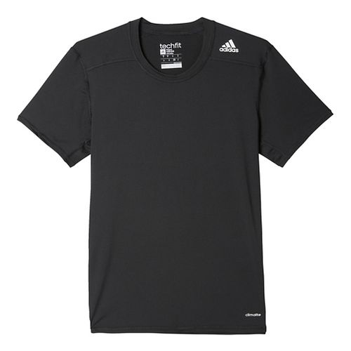 Mens Adidas Techfit Base-Layer Fitted Tee Short Sleeve Technical Tops - Black 2XL