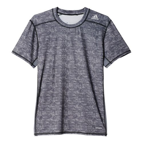 Mens Adidas Techfit SS Base-Layer Fitted Tee Short Sleeve Technical Tops - Core Heather L ...