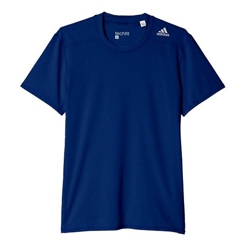 Mens Adidas Techfit Base-Layer Fitted Tee Short Sleeve Technical Tops - Royal/Dark Blue XS