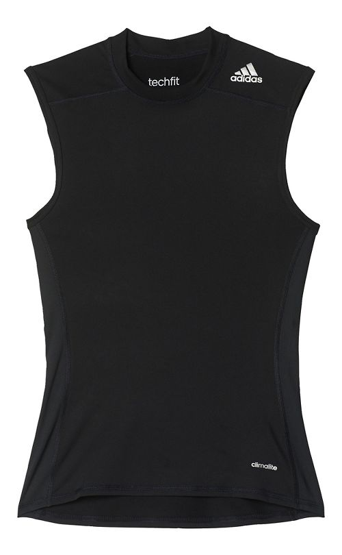 Mens adidas Techfit Base-Layer Sleeveless & Tank Tops Technical Tops - Black L