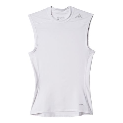 Mens Adidas Techfit Base-Layer Sleeveless & Tank Tops Technical Tops - White XL
