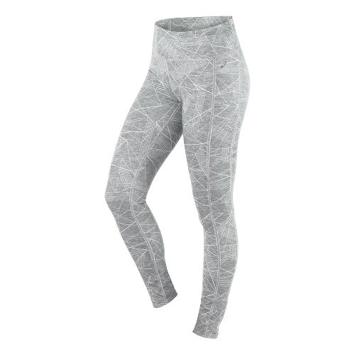 Womens ASICS Interval Tights & Leggings Pants - Grey Skyline Print S