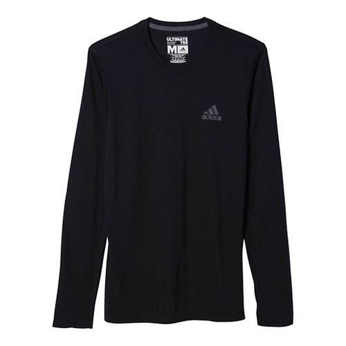 Mens Adidas Ultimate Tee Long Sleeve Technical Tops - Black/Dark Grey S