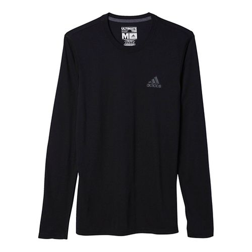 Mens Adidas Ultimate Tee Long Sleeve Technical Tops - Black/Dark Grey XL