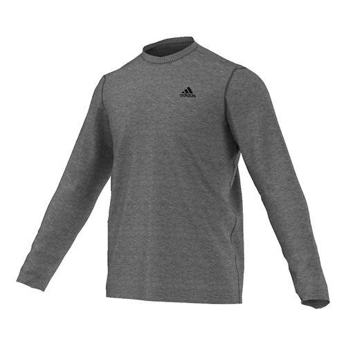 Mens Adidas Ultimate Tee Long Sleeve Technical Tops - Dark Grey Heather S