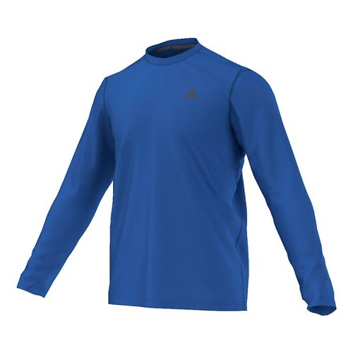 Mens Adidas Ultimate Tee Long Sleeve Technical Tops - Blue/Grey L