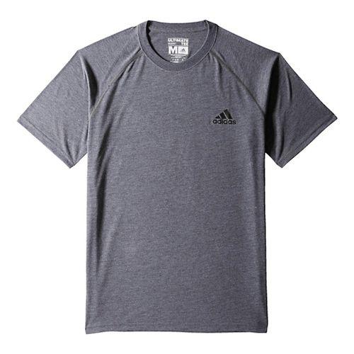 Mens Adidas Ultimate Tee Short Sleeve Technical Tops - Dark Grey/Black 2XL