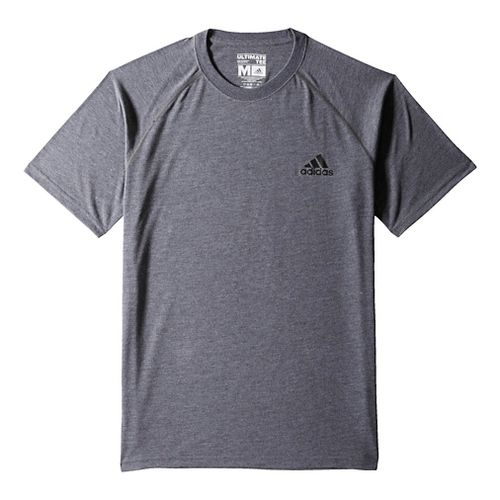 Mens Adidas Ultimate Tee Short Sleeve Technical Tops - Dark Grey/Black S