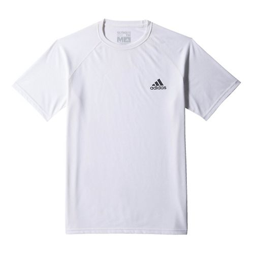 Mens Adidas Ultimate Tee Short Sleeve Technical Tops - White/Grey XXS
