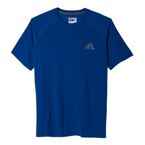 Mens Adidas Ultimate Tee Short Sleeve Technical Tops - Royal/Grey XXS