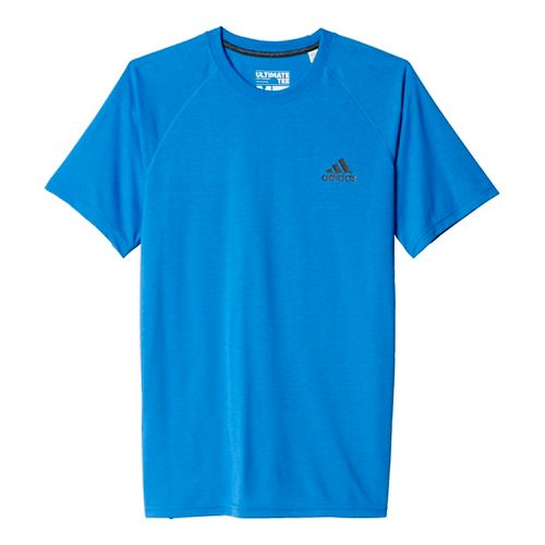 Mens Adidas Ultimate Tee Short Sleeve Technical Tops - Ray Blue/Black M