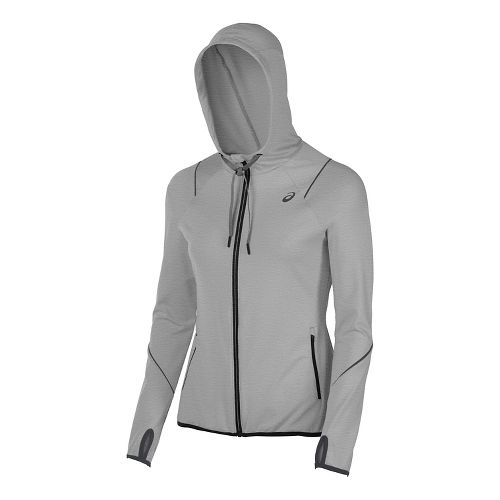 Womens ASICS Lightweight Half-Zips & Hoodies Technical Tops - Midgrey XS