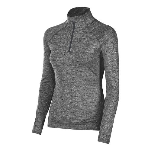 Womens ASICS Lite-Show Half-Zips & Hoodies Technical Tops - Midgrey Heather M
