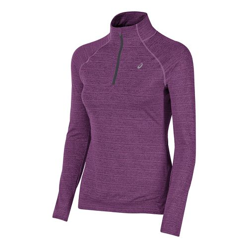 Womens ASICS Lite-Show Half-Zips & Hoodies Technical Tops - Orchid Heather L