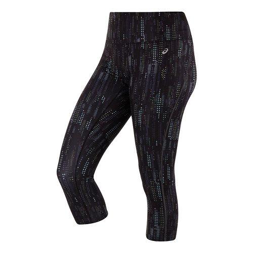 Womens ASICS Lite-Show Capri Pants - Raindrop Print XL
