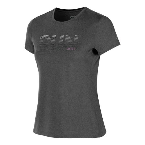 Womens ASICS Live to Run Tee Short Sleeve Technical Tops - Black Heather L