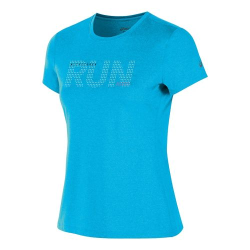 Womens ASICS Live to Run Tee Short Sleeve Technical Tops - Diva Blue Heather M ...