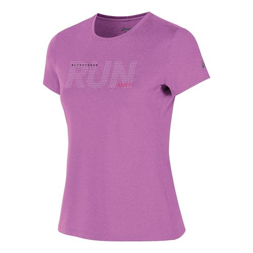 Womens ASICS Live to Run Tee Short Sleeve Technical Tops - Orchid Heather M