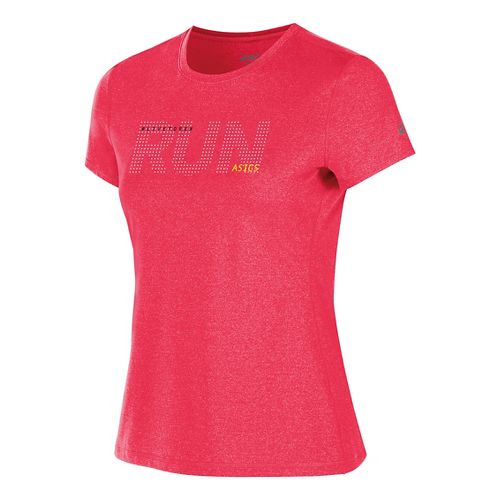 Womens ASICS Live to Run Tee Short Sleeve Technical Tops - Diva Pink Heather S ...