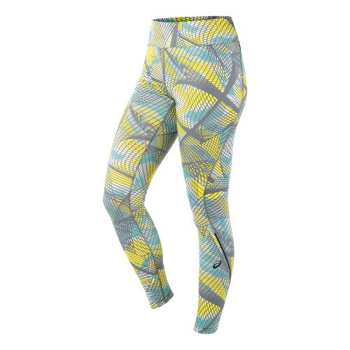 Womens ASICS Long Tights & Leggings Pants - Sea Light Print L