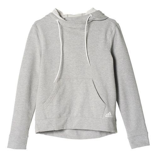 Womens Adidas 24/7/365 Pullover Half-Zips & Hoodies Technical Tops - Medium Grey Heather L
