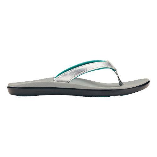 Olukai Ho'opio Girls Sandals Shoe - Silver/Pale Grey 2Y