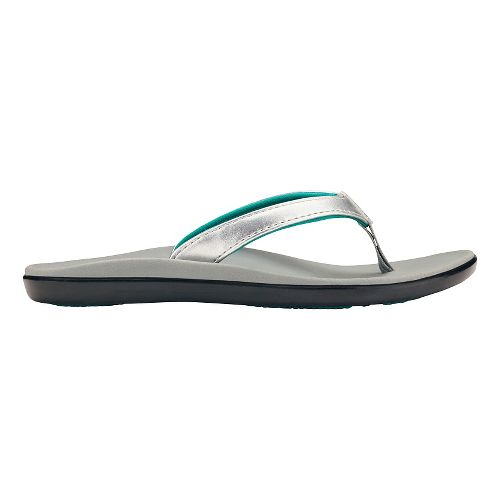 Olukai Ho'opio Girls Sandals Shoe - Silver/Pale Grey 5Y