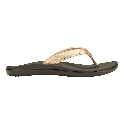 Olukai Ho'opio Girls Sandals Shoe - Bubbly/Dark Java 1Y